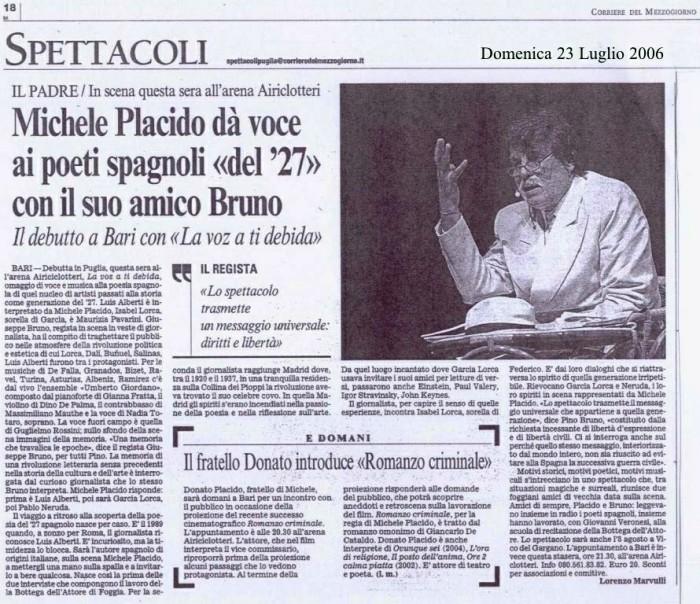 Rass.stampa Michele Placido da voce