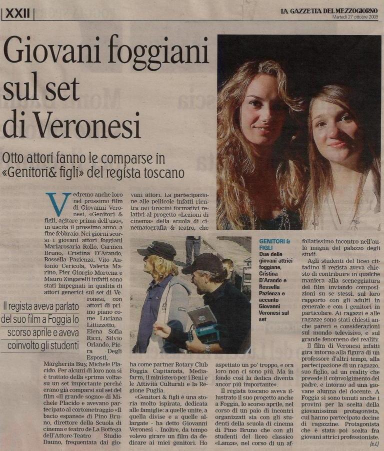 Gazzetta del Mezzogiorno Sul set di Veronesi